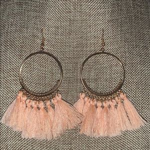 Jewelry - Hoop fringe earrings dangle NEW peach gold